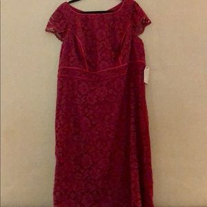 NWT ABS Burgundy Lace Cocktail Dress Size 18w